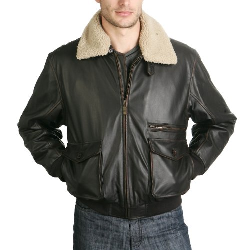 BGSD Men's Cowhide Leather Flight Bomber Jacket - Rubbed Cafe Brown Medium