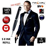 Premium New & Improved 1080p HD Hidden Camera Spy Pen BUNDLE 16GB SD Micro Card + USB card Reader + 7 INK FILLS +updated battery - Record Executive Multifunction DVR. Perfect Gift - Easy to Use