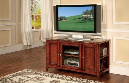 Cheap Acme 91000 Finely Faux Marble Top TV Stand, Cherry Finish (B0082A1GFI)