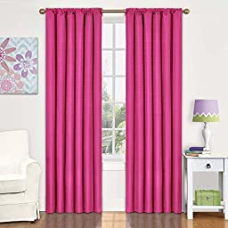 Eclipse Kids Kendall Blackout Thermal Curtain Panel,Raspberry,84-Inch