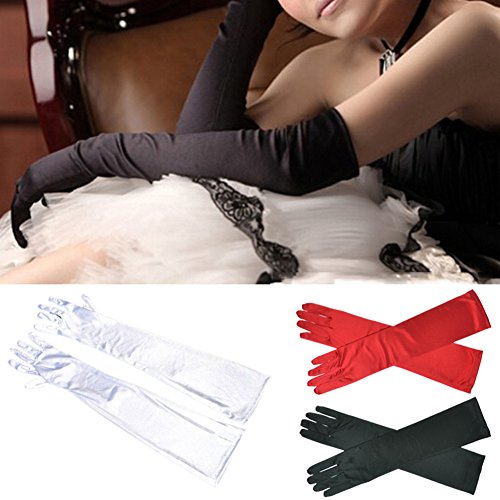 New Fashion Luxury Long Satin Stretch Above Elbow Prom Wedding Formal Dress Bridal Gloves