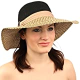 "Summer UPF Derby Coconut Ring Hatband Brim 4"" Floppy Church Beach Sun Hat Black"