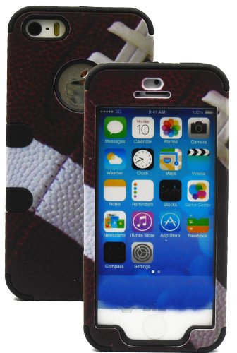 Mylife (Tm) Black And Football Print - Sports Series (Neo Hypergrip Flex Gel) 3 Piece Case For Iphone 5/5S (5G) 5Th Generation Itouch Smartphone By Apple (External 2 Piece Fitted On Hard Rubberized Plates + Internal Soft Silicone Easy Grip Bumper Gel + Li