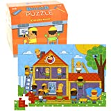 "Floor Puzzle - 48 Large Piece Kid's Puzzle (20"" x 15"") with Storage Box - Little Builder"