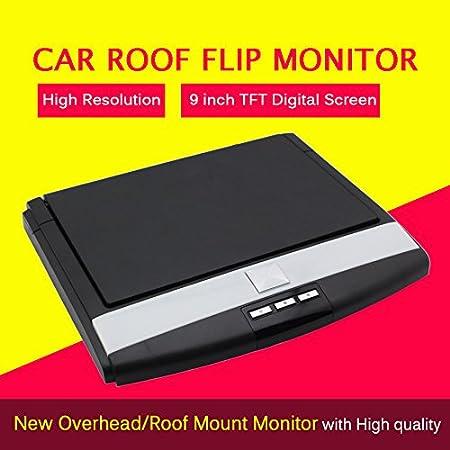 Nouveau moniteur de toit de voiture de voiture Mounted Display 9 pouces LED plafond de voiture šŠcran digital flip moniteur de voiture Menu dšŠroulant Over Head moniteur entršŠe 2 voies