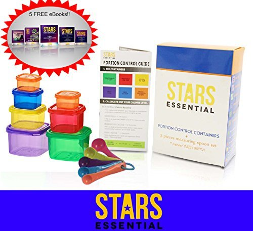 Stars Essential Portion Control Containers Kit with Guide, 5 Measuring Spoons and 5 E-Books (Set Of 7) (1 2 Cup Measurer compare prices)