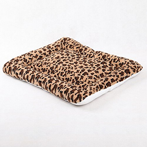 Pet Mat Small Big Dog Cat Puppy Crate Cage Kennel Bed House Cozy Leopard Soft Square Pad