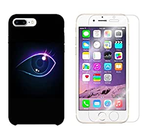 Snoogg Neon Eye Combo Designer Protective Back & Shatter Proof Tempered Glass For APPLE IPHONE 7 PLUS