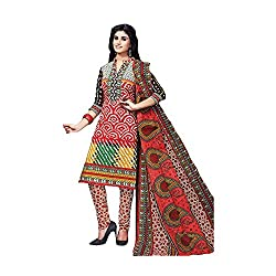 Fashiondiya Double Sleeves Printed Unstitched Cotton Dress Material