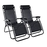 2 Pack Odaof Zero Gravity/anti-gravity Recliner Lounge Patio Pool Chair Foldable,indoors and Outdoors Chairs with Steel Frame(Black)