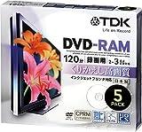 TDK 録画用DVD-RAM デジタル放送録画対応(CPRM) インクジェットプリンタ対応 2-3倍速 日本製 5mmスリムケース 5枚パック DRAM120DPB5U