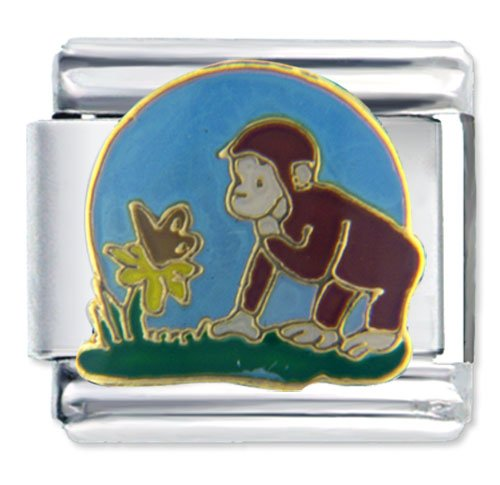 Curious George Watches Nature Animal Disney Monkey Licensed Italian Charms Bracelet Link