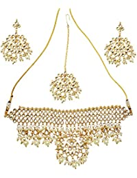 Mehrunnisa Traditional Kundan & Pearls Choker Necklace Set For Women (JWL1483)