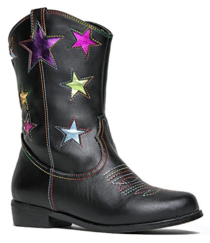 Girls` Metallic Star Western Cowboy Ryder Boots - Vegan Leather - Available In Toddler & Kids Sizes - Top Quality Kids Cowgirl Boots