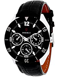 Svviss Bells Original Chronograph Look Black Dial Black Bezel Wrist Watch For Men