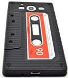 Black Silicone Skin With Retro Tape Cassette Design and Four (4) Screen Prtoectors For Samsung Galaxy S3 GT-i9300