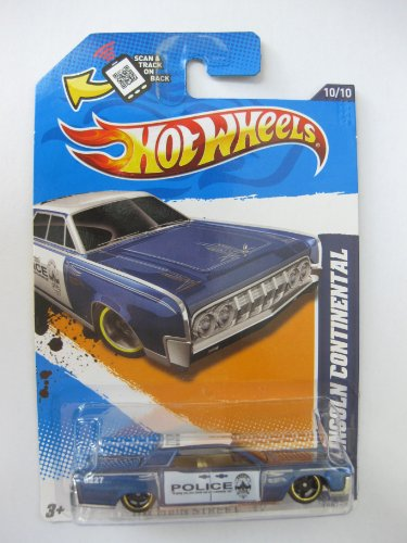 Hot Wheels 2012 HW Main Street '12 10/10 '64 Lincoln Continental 170/247 Blue and White Austin Police Scan & Track Card - 1