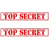 """Auto Vynamics - STAMP-TOPSECRET-9-GRED - Gloss Red Vinyl """"TOP SECRET"""" Rubber Stamp Decal w/ Border - Matching Pair - (2) Piece Kit - 9-by-1.5-inches"""