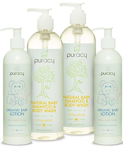 Puracy Natural & Organic Baby Care Gift Set - Baby Shampoo, Bubble Bath, Body Wash & Lotion Skin Care Bundle - Sulfate & Paraben-Free - Developed by Doctors Using Award Winning Ingredients - Pack of 4 - 1