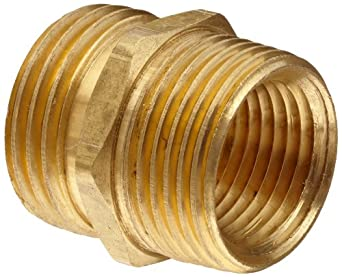 "Anderson Metals Brass Garden Hose Fitting, Connector, 3/4"" Male Hose ID x 3/4"" Male Pipe x 1/2"" Tapped Female Pipe"