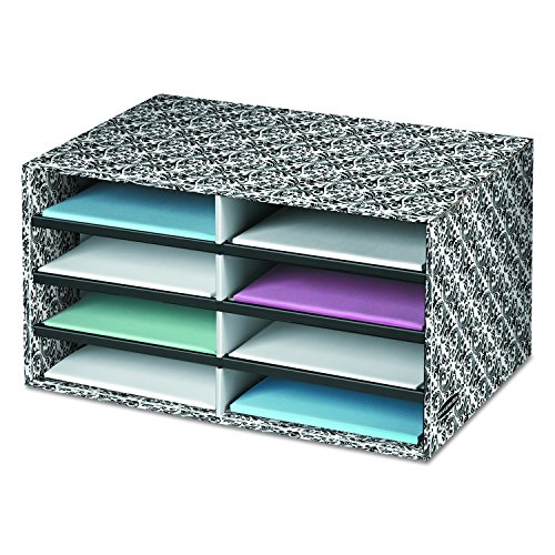 Bankers Box Decorative Eight Compartment Literature Sorter, Letter, Black/White Brocade (6170301)