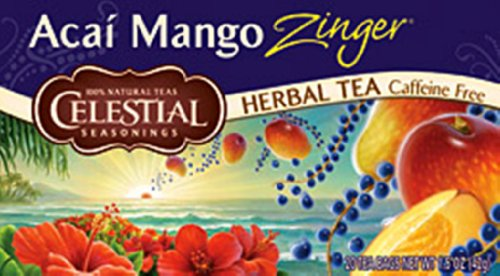 Celestial Seasonings Acai Mango Sweet Zinger Ice, 20-Count Tea Bags (Pack of 6)
