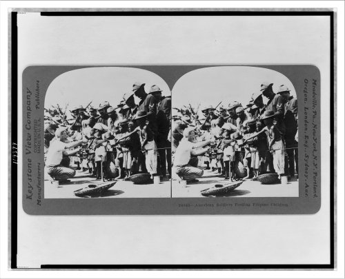 Stereoview (L): American soldier feeding Filipino children