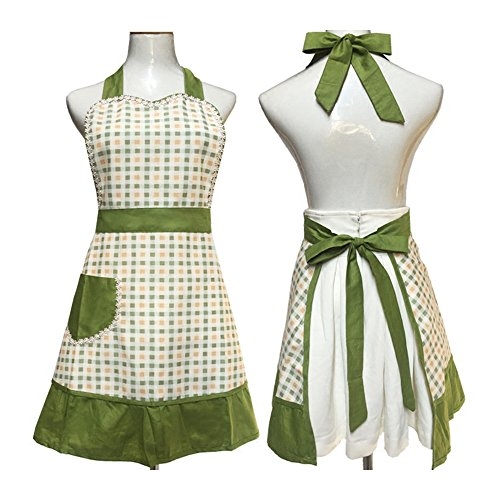Cute Lovely unique design Women Girls Ladies Retro Apron with Chic Pocket for Cooking Kitchen, Green 0