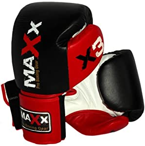 MAXX Pro Fight Leather Boxing Gloves Punch Bag blk/red, 12oz