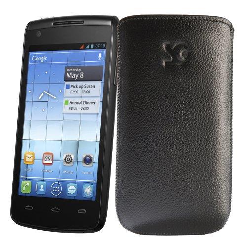 Original Suncase Tasche fuer / Alcatel One Touch 992D (Dual-Sim) / Leder Etui Handytasche Ledertasche Schutzhuelle Case Huelle - Lasche mit Rueckzugfunktion* In vollnarbiges-schwarz