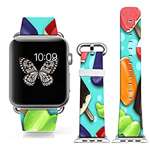 Iwatch Band Leather 38mm,Apple Watch Strap Genuine Leather Replacement 38mmHit The Color Stitching Cute Creative Personalized Funny Ice Cream Popsicles Cartoon(with metal clasp together)