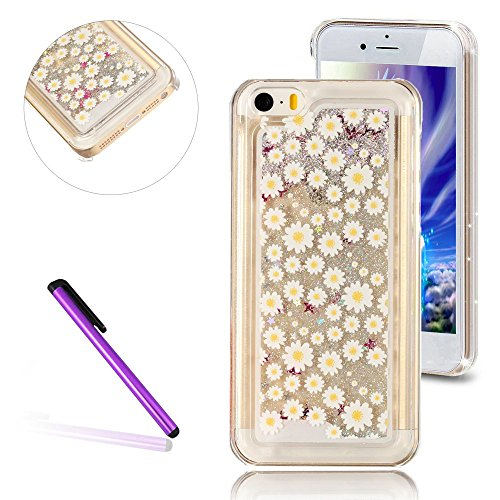 iPhone 5C Case,3D Liquid Brilliant Luxury Bling Glitter Liquid Floating Angle Girl Moving Hard Protective Case for Apple iPhone 5C (Small Yellow Flower) (Iphone 5c Flower Case Protective compare prices)