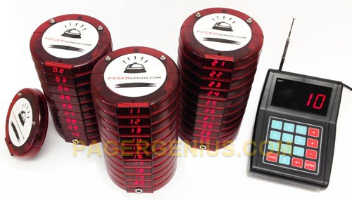 Pager Genius 30 Digital Restaurant Coaster Pager / Guest Table Waiting Paging System
