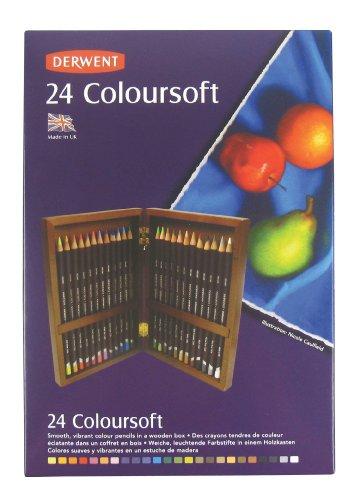 Derwent Coloursoft Wooden Box Soft Blendable Colouring Pencils (Set of 24)