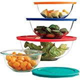 Paksh / Pyrex Clear Glass Mixing Bowls With Lids | Glass Food Storage Containers | Dishwasher, Oven and Microwave Safe [Set of 8] Made in USA