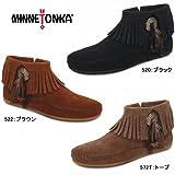 [ミネトンカ] MINNETONKA レディース スエード フリンジ ブーツ コンチョ フェザー サイドジップ アンクル ブーツ 520/522/527T CHONCO/FEATHER SIDE ZIP BOOT 527T 23.5cm(6.5)
