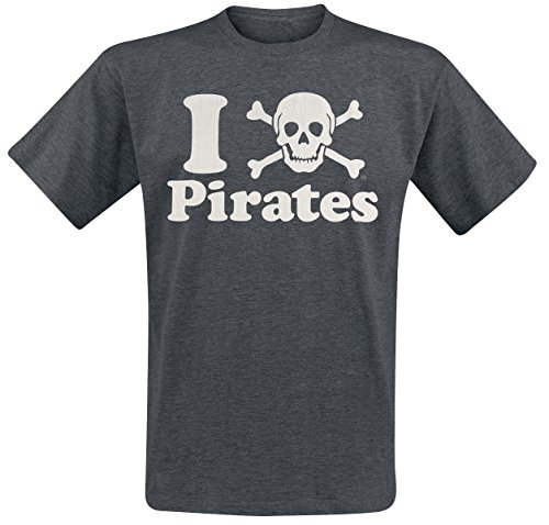 Goodie Two Sleeves Skull Pirates T-Shirt grigio scuro M