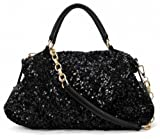 DJT Ladies Celeb Brilliant Designer Style Sequined Hobos Handbag Tote Shoulder Messenger Black Bag
