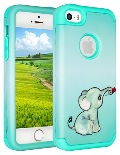 iPhone SE Case,iPhone 5S Case,iPhone 5C Case,SLMY(TM)Lovely Elephant Heavy Duty High Impact Armor Case Cover Protective Case for Apple iPhone 5 5S 5C SE Cute Green (Iphone 5c Protective Case Cute compare prices)