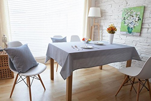Kingmerlina Cotton Linen Rectangle Modern Stripes Kitchen Tablecloth Multi Size