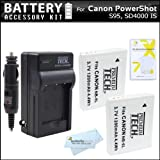 2 Pack Of Replacement Batteries For Canon NB-6LH NB-6L 1200MAH Each + 110/220 Ac/Dc Rapid Charger For Canon Powershot...