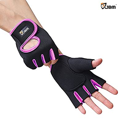 JBM Cycling Gym Gloves Fingerless Hand Protector Safe Breathable Lightweight Comfortable Adjustable Durable Cool for Road Biking Motor Racing Cycling BMX Bicycle Riding Mountain Bike Climbing Inline Roller Skating Boating Fishing Hiking