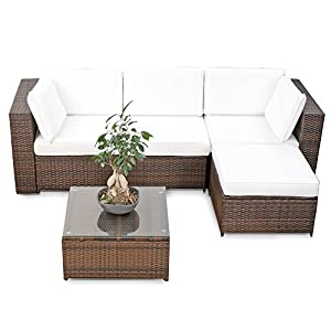 erweiterbares 15tlg balkon polyrattan lounge ecke braun sitzgruppe garnitur. Black Bedroom Furniture Sets. Home Design Ideas