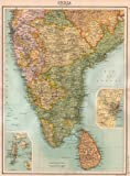 BRITISH INDIA SOUTH:Madras(Chennai)Mysore Hyderabad Ceylon(Sri Lanka);1898 map