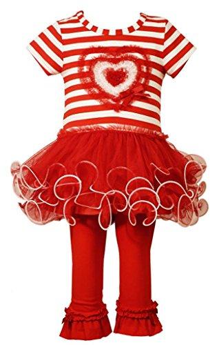 Bonnie Baby Baby Heart Applique Tutu Knit Playwear Set, Red, 3-6 Months