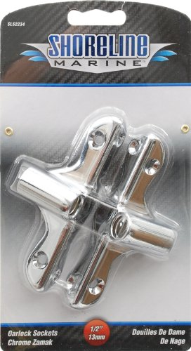 Shoreline Marine Oarlock Sockets, Chrome Zamak