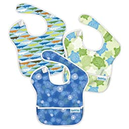 Bumkins 3 Pack Waterproof SuperBib, Boy B16 - Blue Groove, Crocs, Green Turtle