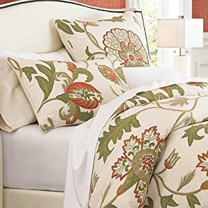 Crewel Bedding Giverny Sweet Pine Duvet Cover Cotton Duck (92X94)