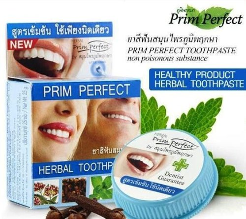 3 X 25 G. Prim Perfect Herbal Toothpaste Reduce Cigarette Tea Coffee Stains & Stop Bleed Gums