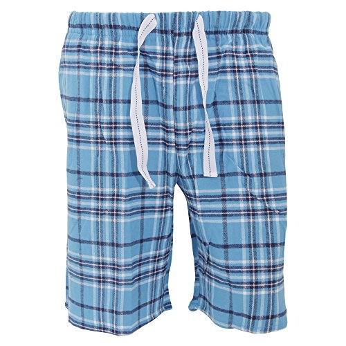 Cargo Bay Herren Flanell Pyjama Shorts kariert (L (Bund 91-96cm)) (Blau/Schwarz/Weiß)